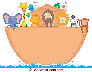 Noahs Ark - Illustration of Animals Aboard Noahs Ark with...