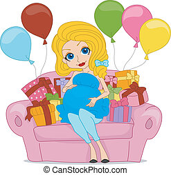 Baby Shower - Illustration of a Pregnant Woman Surrounded...