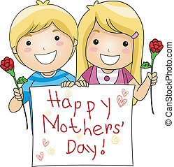 Mothers Day - Illustration of Kids Flashing a Mothers Day...