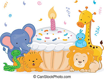 Birthday Animals - Illustration of Jungle Animals Having a...