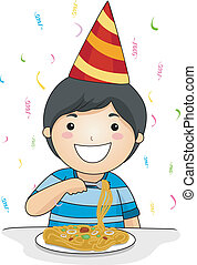 Kid Birthday Noodles - Illustration of a Birthday Celebrant...