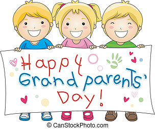 Grandparents Day - Illustration of Children Holding a Banner...