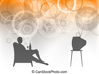 watching tv on the background