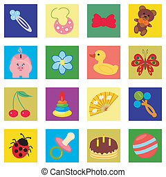 children wallpaper with icons vector illustration