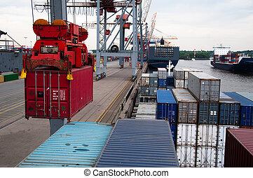contenedor, barco, ser, (un)loaded