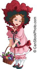 Vintage girl with easter basket - Easter illustration of the...
