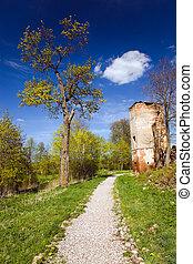 ancient castle  - Road along the destroyed ancient castle