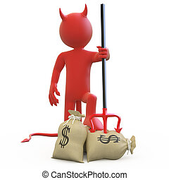 Devil with his trident stuck in sack of dollars