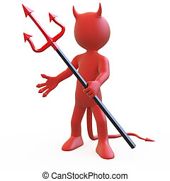 Devil posing with his trident - Devil posing threatening...