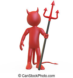 Devil posing with his trident - Devil posing with his red...