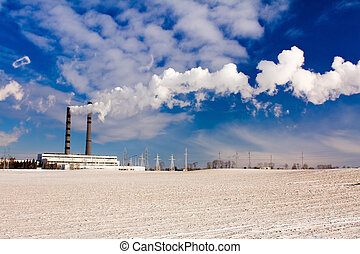 factory in a winter season - The factory on which chemical...
