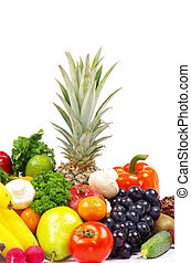 vegetables and fruits on white