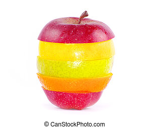 mixed fruit  isolated on white