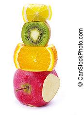 mixed fruit  isolated on white