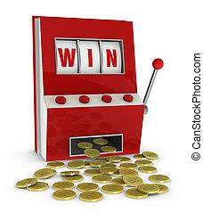 winning at slot machine - one slot machine with the word win...