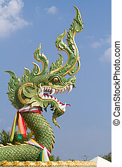 green dragon sculpture - traditional buddhist green dragon...