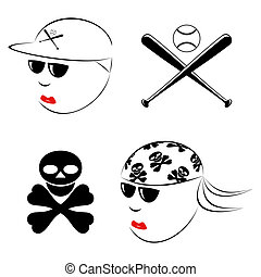 Different people - The drawn heads of the baseball player...