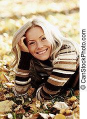 autumn woman portrait in park
