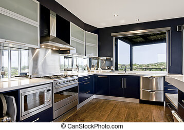 Large Kitchen - An interior view of a large, deluxe family...
