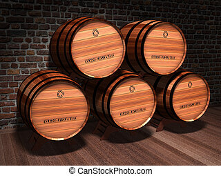 Special Reserve - Illustration of wooden barrels in an old...