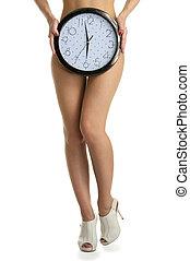 Women's legs and round clock