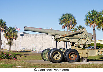 Old Howitzer at Fort - An old howitzer cannon outside a...