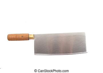 Chinese Cleaver on White - A chinese cleaver with wood...