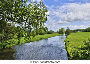 English Countryside River - A view of the river Bela passing...