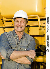 happy construction worker. - A happy smiling construction...