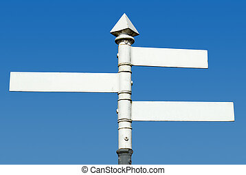 Old fashioned English 3 way blank direction signpost.