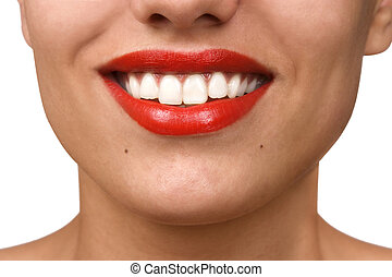 Smiling woman mouth with great white teeth