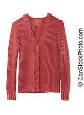rojo, suéter, aislado, blanco