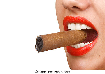 mouth with red lips biting a cigar - Smoking woman, mouth...