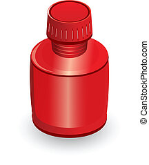Medical bottle of red Illustration on white background