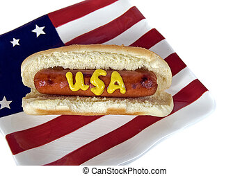 Summer holiday hot dog - Patriotic hot dog on a flag plate.