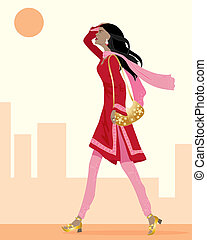 salwar kameez - an illustration of an asian woman wearing a...