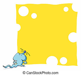 Funny mouse framework - Blue mouse eating background gruyere...