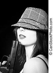 hermoso, joven, niña, sombrero, tenencia, pistola,...