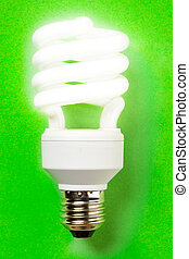 Energy saving bulb on the green background