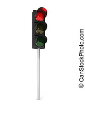 Red traffic light - Toy traffic light over white background...