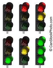 Traffic light combinations - Set of different traffic light...