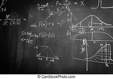 Black and white chalk board with formulas