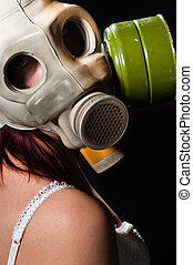 Girl wearing gasmask and white lingerie