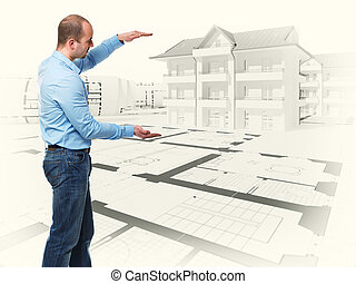 my house - standing caucasian man and 3d blueprint house