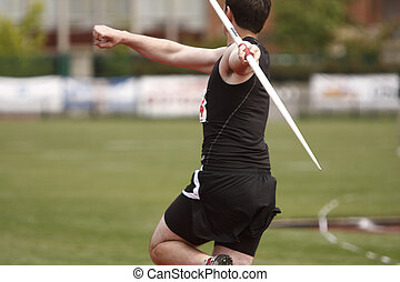 Javelin - A male athlete with a javelin.