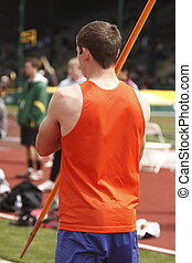 Javelin - A male athlete with a javelin