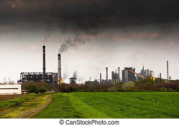 Power plant emitting dark black smoke entoxicating the world