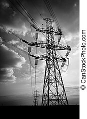 Electric lines in black and white