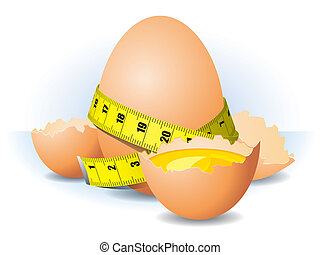 Healthy eggs on a white background