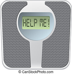 Bathroom scale with the word help me on the screen